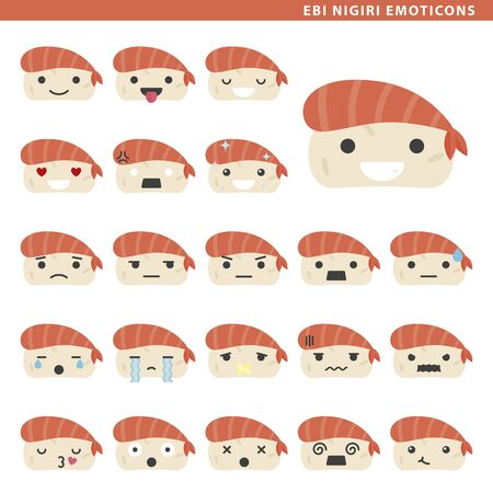 Set of ebi nigiri emoticons with different faces and expressions.
