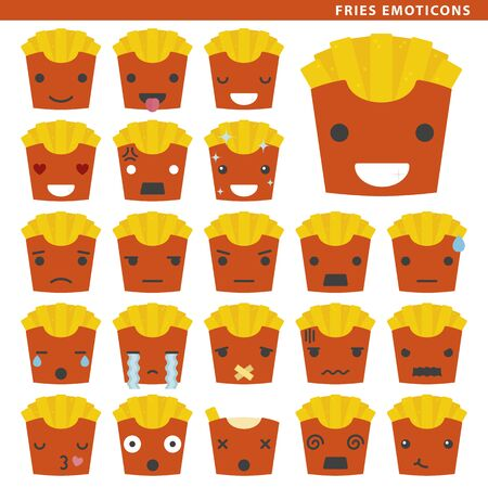 Set of fries emoticons with different faces and expressions. Ilustração