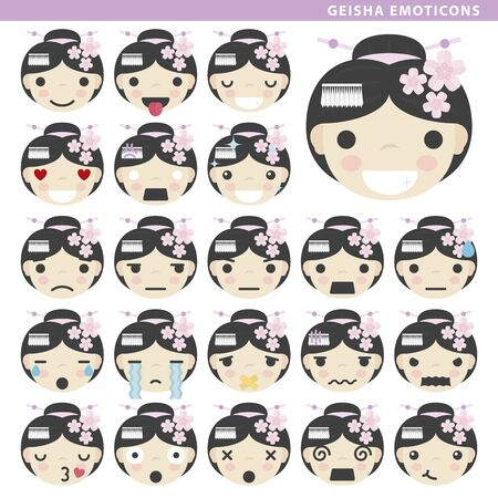 Set of geisha emoticons with different faces and expressions.