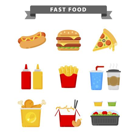 Fast food icons in flat style for your cuisine projects or food publications.