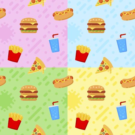 Fast food patterns in flat style for your cuisine projects or food publications.