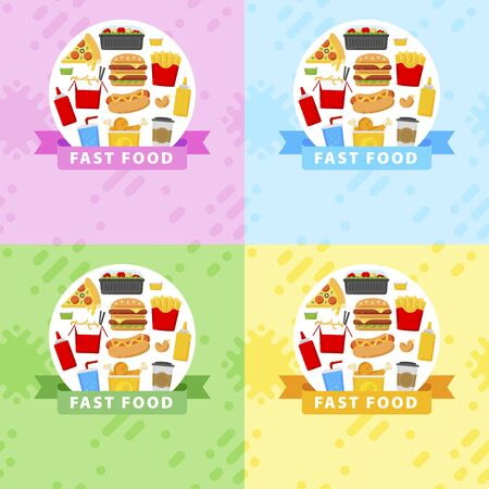Fast food templates in flat style for your cuisine projects or food publications.