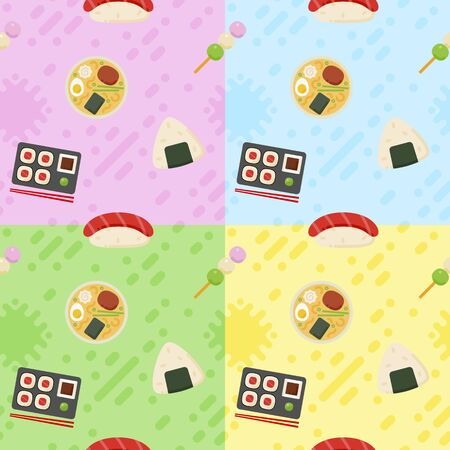 Japanese food pattern in flat style for your cuisine projects or food publications.