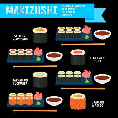 Makizushi japanese food set in flat style for your cuisine projects or food publications.