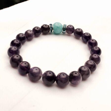 amazonite: Purple Amethyst and Amazonite Bracelet Stock Photo