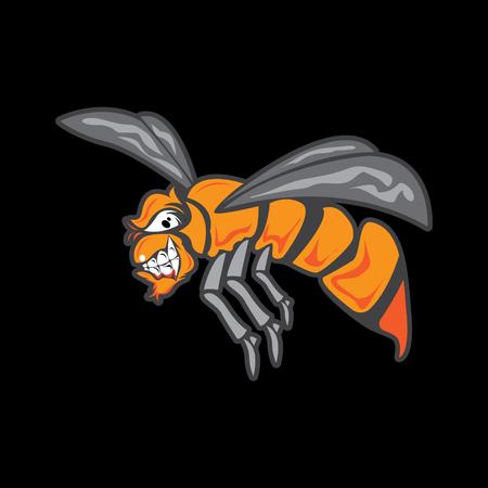 kreskówka mucha na białym tle na czarnym tle Ilustracje wektorowe
