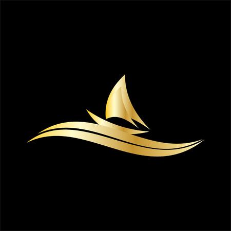 sailing boat vector logo  イラスト・ベクター素材