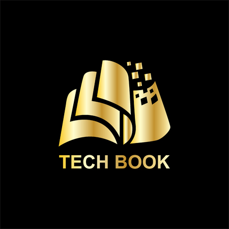 technology book for business logo with gold color