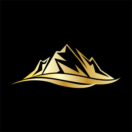 gold mountain traveling business logo with gold color 写真素材 - 116481049