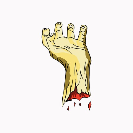 Human hand icon. Vector illustration of hand raised up. Hand drawn human hand.