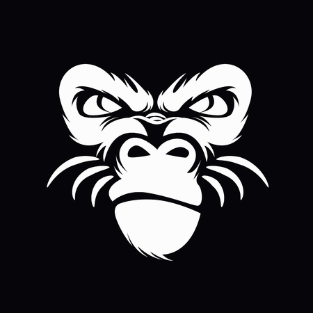 Gorilla mascot sport logo, emblem, illustration on a dark background