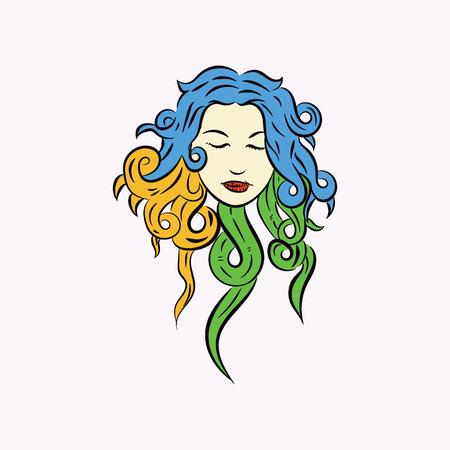 beauty face vector illustration with long hair Ilustração