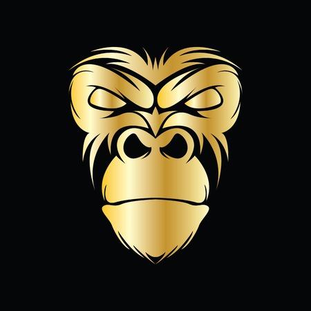 Logotipo de vector de cabeza de gorila para símbolo deportivo