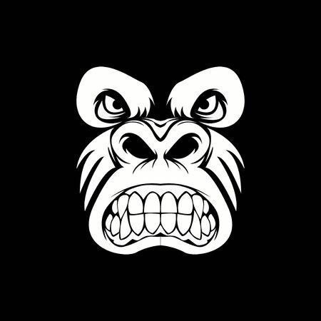 head monkey vector design sport logo with blackbackground