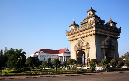 minister of war: Victory Gate Patuxai in Vientiane, Laos Stock Photo