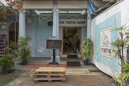 Singapore - June 10, 2018: Tintin Shop in Singapore showing the entrance of the shop in Chinatown.