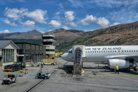 Queenstown, New Zealand - January 19, 2018: Air New Zealand being prepped for takeoff in Queenstown. Editorial