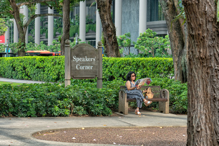 Speakers Corner is an area located within Hong Lim Park, Singapore, where citizens and permanent residents of Singapore may demonstrate, hold exhibitions and performances, and speak freely on most topics after prior registration on a government website.  Editorial