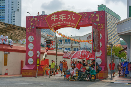 Singapore - june 10, 2018: Gate into Chinatown Editorial