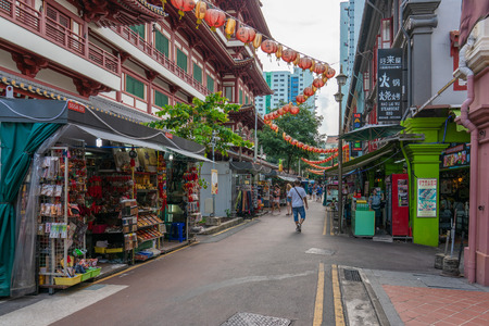 Singapore - june 10, 2018: Gate into Chinatown 2018:  Commerce in Singapore Chinatown Editorial