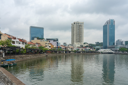 Singapore - August 9: View of Boat Quay in morning hours