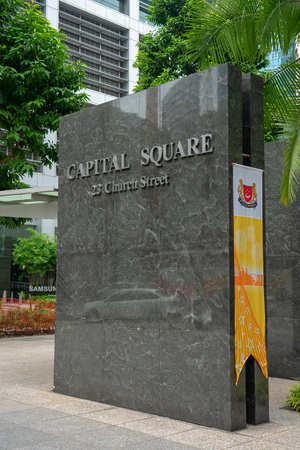 Singapore - August 9: Capital Square Marble Sign.