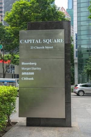 Singapore - August 9: Capital Square sign ofthe tenants
