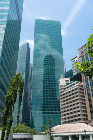Singapore - August 11, 2018: Downtown Singapore Financial and Corporate buildings