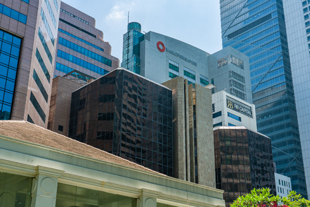 Singapore  - August 11, 2018: Downtown Corporate and Financial buildings close together