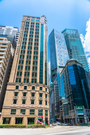 Singapore  - August 11, 2018: Tall Marble, Glass financial and corporate buildings