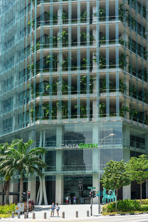 Singapore  - August 11, 2018: Financial building entrance on a sunny day