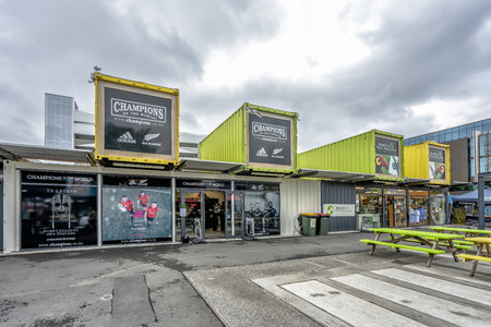 Christchurch, new Zealand - January 21, 2018: Christchruch container mall with shoppes on a cloudy day