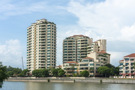 Singapore  - June 18, 2018: Condominiums by the river  with lots of balconys