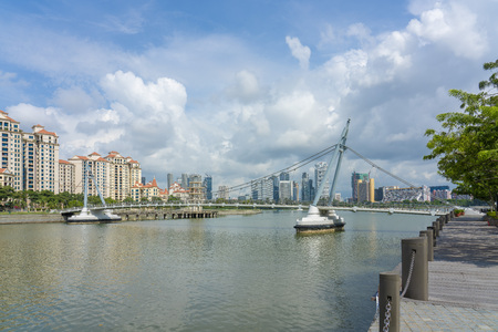 Singapore  - June 18, 2018: Tanjong rhu suspension bridge over Singapore River