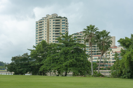 Singapore  - June 18, 2018: Trees infront of Camelot condominium