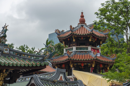 Singapore  - August 9, 2018: Chinese temple roof top