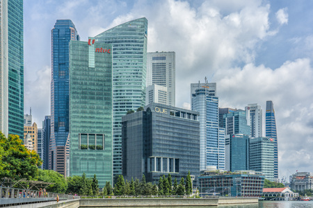Singapore  - August 9, 2018: Marina bay financial and entertainment buildings