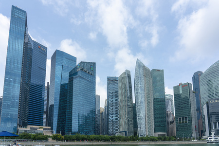 Singapore  - August 9, 2018: Downtown financial skyline at daytime Editorial