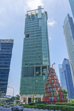 Singapore  - August 11, 2018: Tall building with national day decorations Editorial