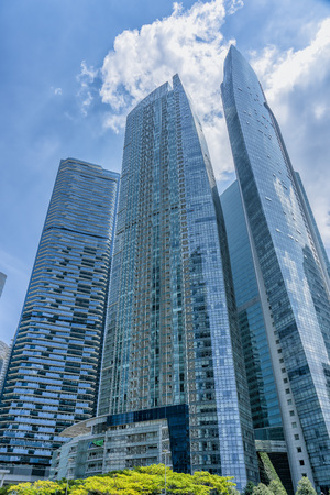 Singapore  - August 11, 2018: Blue tall glass condominium buildings