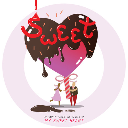 tiny human give chocolate heart candy for sweetheart in valentines day ,cartoon vector illustration