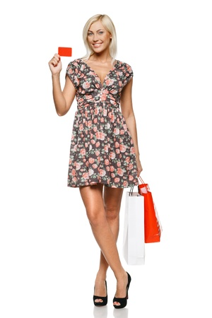 Happy shopping female holding blank credit card  Full length portrait  photo