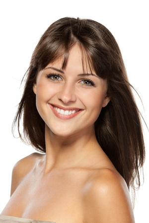 beautiful nude woman: Closeup portrait of beautiful female, isolated on white background Stock Photo
