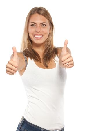 deacuerdo: Femenino emocionado en se�al ocasional muestra el pulgar hacia arriba con las dos manos, aisladas sobre fondo blanco