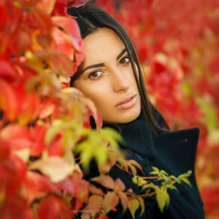 Autumn portrait of young woman in fall colors outdoors Stock Photo - 16159277