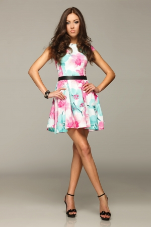 elegance fashion girls look sensuality young: Full length of beautiful female posing in summer dress