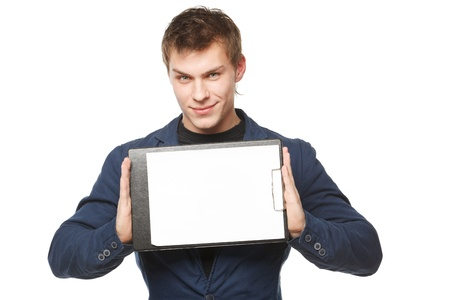 Male holding a clipboard with blank copy space, isolated on white background photo