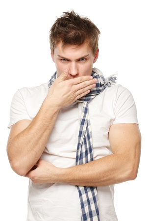 Coughing sick man isolated on a white background photo