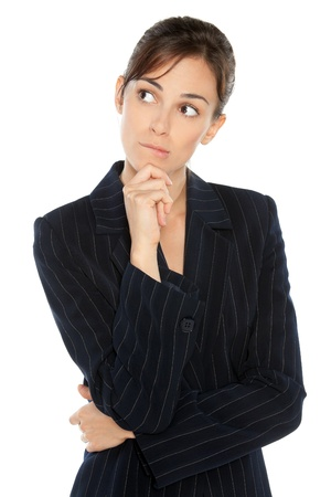 business dilemma: Portrait of young anxious businesswoman in suit biting her lip, looking sideways, isolated on white background