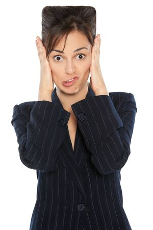 Portrait of business woman making a silly face and having square head from the problems, over white background